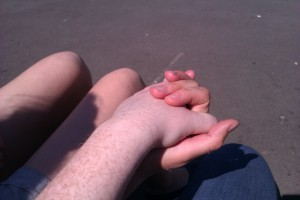Holding hands with Louise Brodie