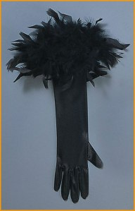 A fairly unexciting black feathery glove