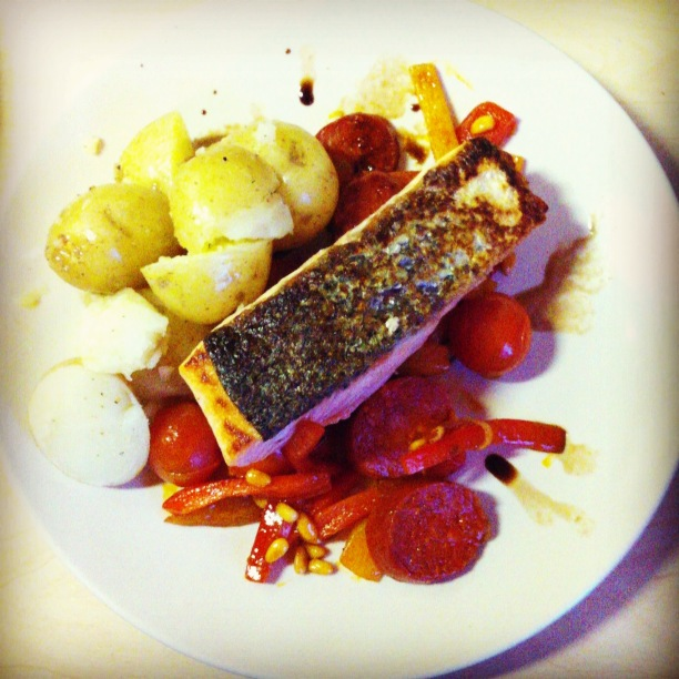 Monica Galetti's salmon with chorizo and peppers