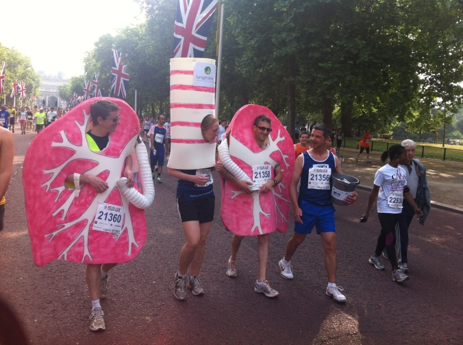 Lungs and spine costume at the British 10k