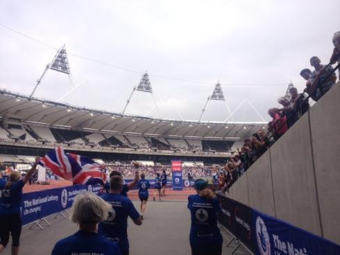 Running into the Olympic Stadium