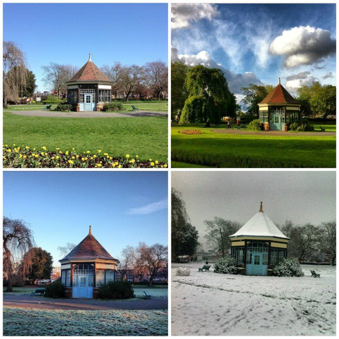 The Myatt's Fields Park summerhouse...through the seasons