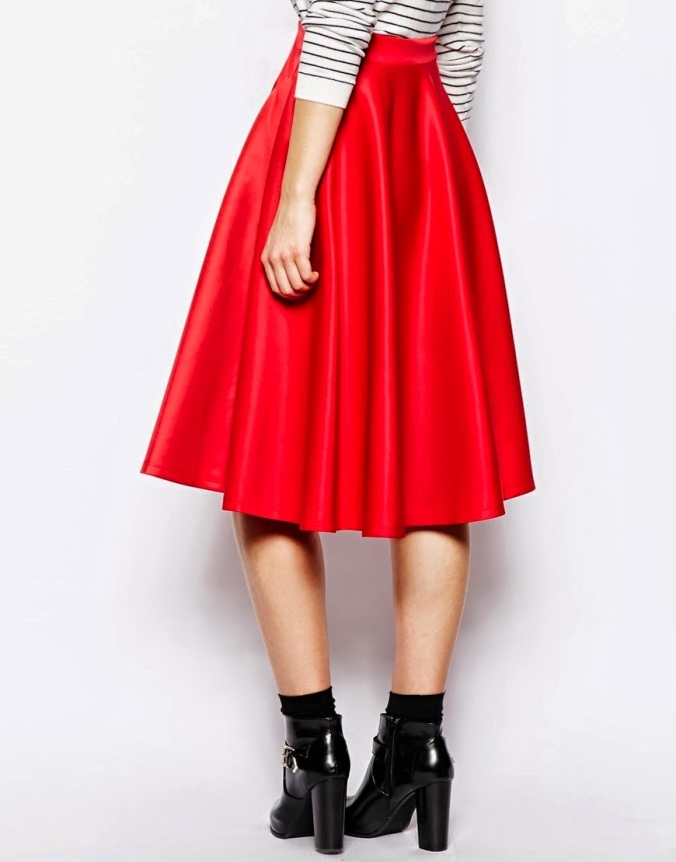 ASOS Tall red scuba midi skirt