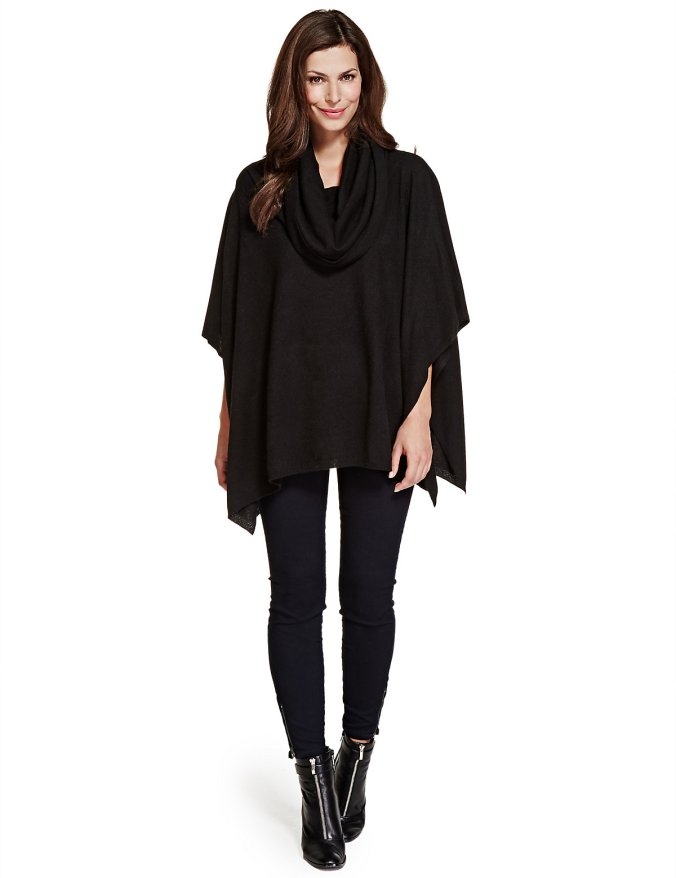marks and spencer black cashmere wrap