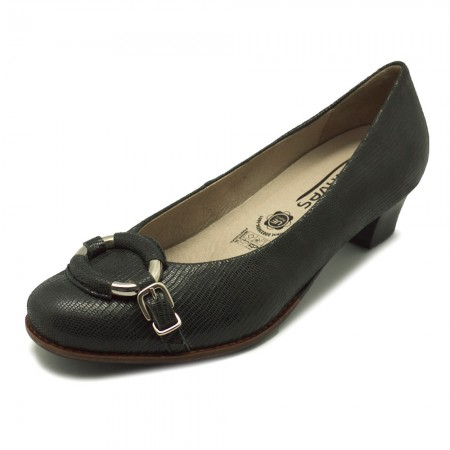 Cinderella Shoes black heels with silver ring detail (squiggly euro symbol 135, sizes 9 to 12)